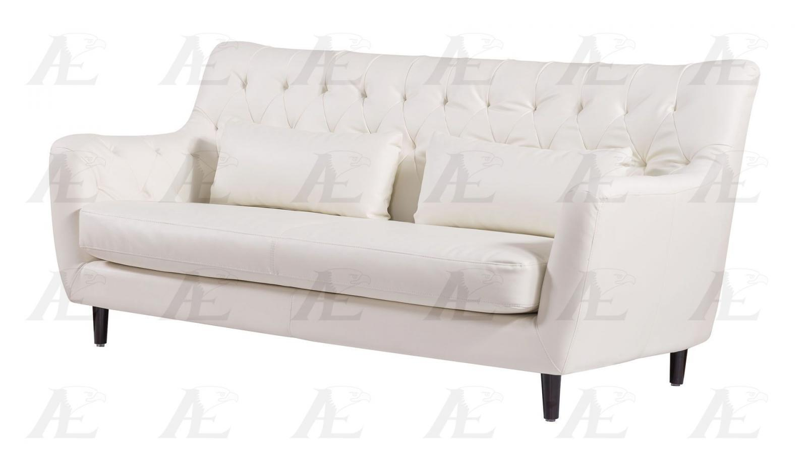 American Eagle Ae346 Iv Ivory Sofa Loveseat And Chair Faux Leather Set 3pcs Sofas Loveseats