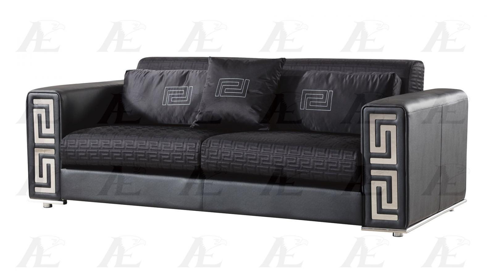 American Eagle Ae223 Bk Black Sofa And Loveseat Faux Leather Set 2pcs Sofas Loveseats Chaises