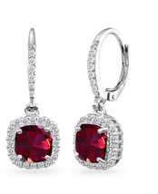 Sterling Silver Created Ruby Cushion-Cut Dangle Halo Leverback Earrings ... - $128.22