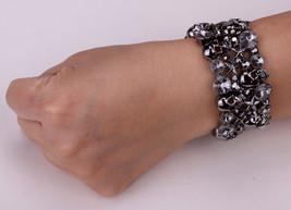Skull Star Stretch Bracelet Bangle For Women Biker Bling Jewelry W/ Crystal - $16.98