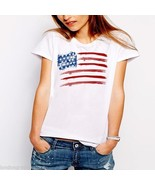 American Flag, T-shirt, independence day, 4th of july, USA, US flag, tan... - $19.99