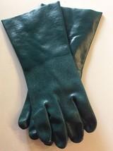 "4Pair Wet Grip Gloves 14""  Large Heavy duty Green Chemical 100% PVC Coat... - $36.95"