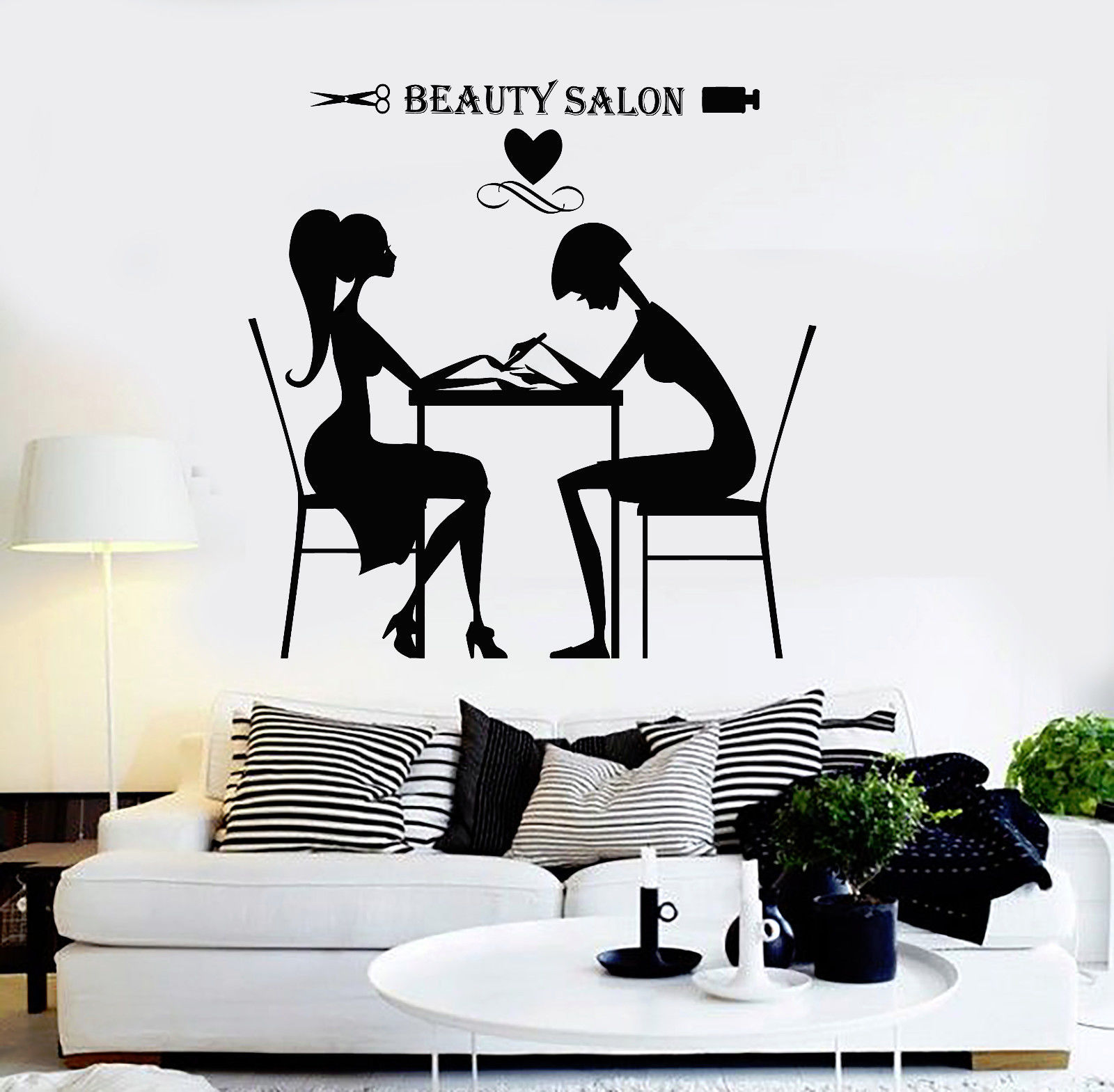 vinyl wall decal beauty salon hair stylist nail spa. Black Bedroom Furniture Sets. Home Design Ideas