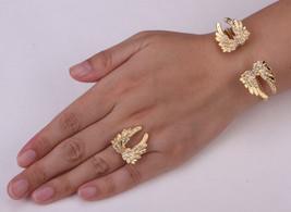 Angel Wing Bracelet Ring Sets Adjustable Women Biker Jewelry Gifts Antique - $10.99