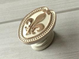 Fleur De Lis Dresser Knobs White Gold Drawer Pulls Handles Cabinet Door Knobs  image 2