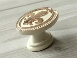 Fleur De Lis Dresser Knobs White Gold Drawer Pulls Handles Cabinet Door Knobs  image 1