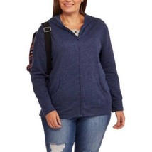 NEW WOMENS PLUS SIZE 5X 30W 32W NAVY BLUE ZIP UP DOWN FLEECE SWEATSHIRT ... - $19.34