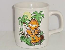 Garfield Coffee Mug Palm Tree Guitar Sun Cup Cat Enesco 1978 Ceramic Vintage  - $34.95