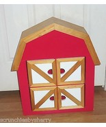 Red Barn Wall Cabinet Shelf Spice Bedroom Kitchen Wood Roof Kids Room - $169.95