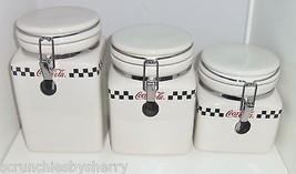 Coke Coca Cola Ceramic Canisters Checker Board Design Seals 2002 Lot of 3 - $99.95