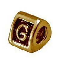 New Letter G Initial for jewelry Bead 24kt gold plated - $20.05