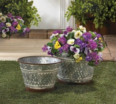 Set of 2 Rustic Country Chic Galvanized Metal Planters w/ Painted Brown ... - $61.33
