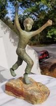 VINTAGE 1950S 60S MODERN BRONZE TRIUMPHANT PLAYING BOY SCULPTURE ON STON... - $338.44