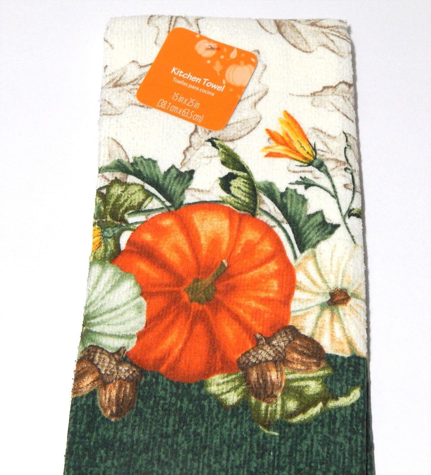 Fall Autumn Harvest Thanksgiving Kitchen Dish Towel Oven Mitt Set Pumpkin Acorn