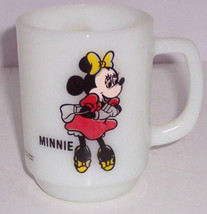 Walt Disney Productions Minnie Mouse Mug  Pepsi Cup Milk Glass Fire King Vintage - $49.95
