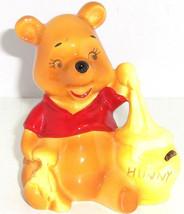 Disney Winnie the Pooh Eating Hunny Pot Ceramic Figurine Japan Vintage  - $49.95