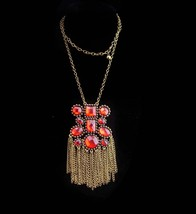 Gypsy necklace  / Dramatic fringe / amber color rhinestone / statement j... - $75.00