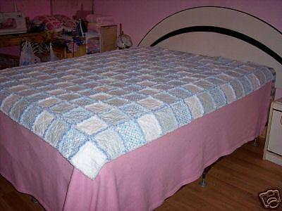 Rag Quilt Blue White Roses Flowers Twin Full Bed Blanket Bedroom  - $299.95
