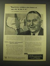 1944 AiResearch Ad - Live Within Hours of Any City - $14.99