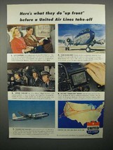 1952 United Air Lines Ad - What They Do Before Take-off - $14.99