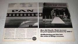 1966 Pan Am Airline Ad - Charlie Wade Increase Pool - $14.99