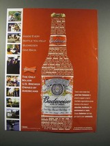 2005 Budweiser Beer Ad - Owned by Americans - $14.99