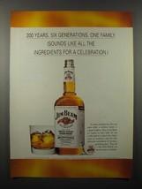 1995 Jim Beam Whiskey Ad - 200 Years Six Generations - $14.99