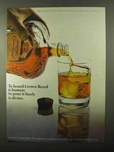 1971 Seagram's Crown Royal Whisky Ad - Pour is Divine - $14.99