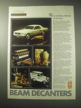 1985 Jim Beam Bourbon Decanter Ad - Legend on Wheels - $14.99