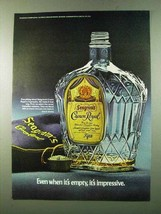 1972 Seagram's Crown Royal Ad - When It's Empty - $14.99