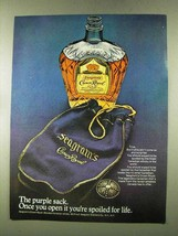 1973 Seagram's Crown Royal Ad - The Purple Sack - $14.99