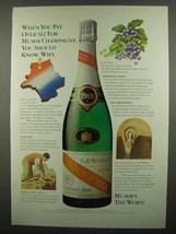 1974 Mumm Champagne Ad - When You Pay Over $12 - $14.99