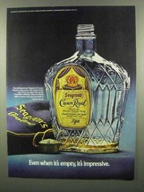 1974 Seagram's Crown Royal Ad - Even When Empty - $14.99