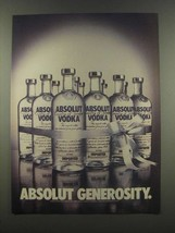 1985 Absolut Vodka Ad - Absolut Generosity - $14.99