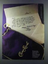1981 Seagram's Crown Royal Whisky Ad - Seek my Goals - $14.99