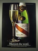 1982 Mumm Champagne Ad - Mumm's the Word - $14.99