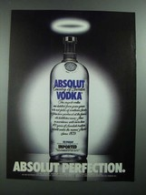 1988 Absolut Vodka Ad - Absolut Perfection - $14.99