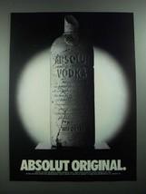 1988 Absolut Vodka Ad - Absolut Original - $14.99