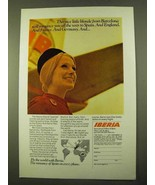 1970 Iberia Airlines Ad - Nice Blonde from Barcelona - $14.99