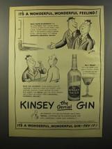 1946 Kinsey Gin Ad - William Steig - Wonderful Feeling - $14.99