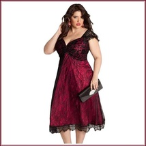 Vintage Glamor Lace Overlay Bow Knot Bodice Empire Waist Wine Midi Evening Gown - $93.95