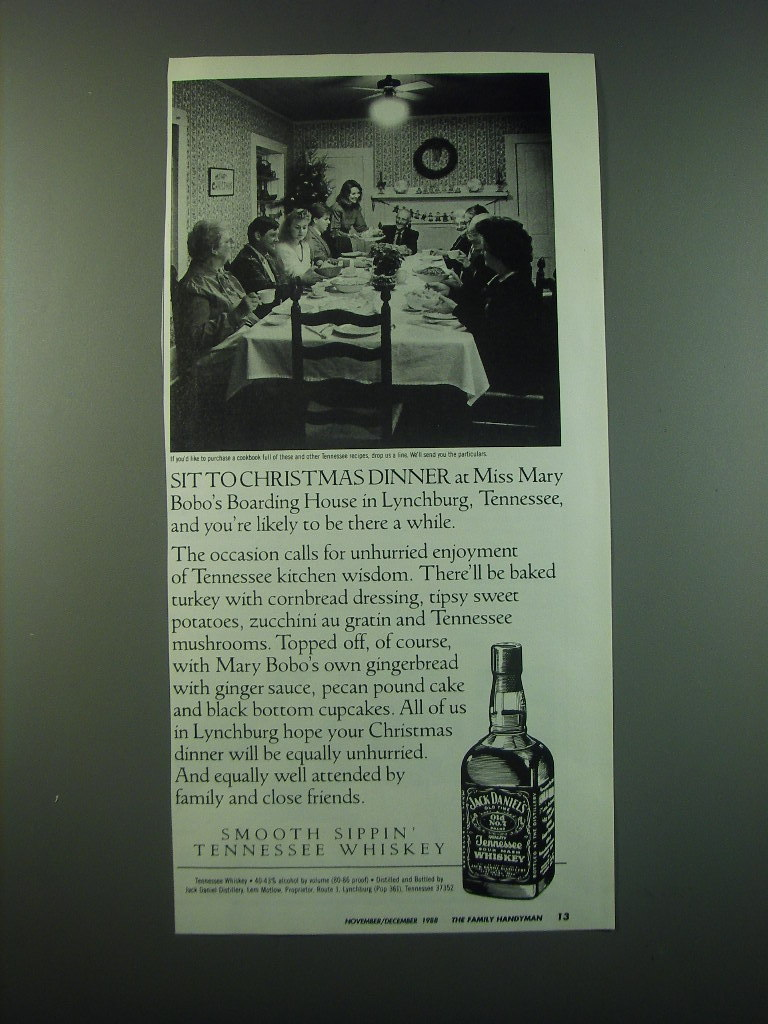 1988 Jack Daniel's Whiskey Ad - Sit to Christmas dinner at Miss Mary Bobo's
