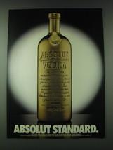 1989 Absolut Vodka Ad - Absolut Standard - $14.99
