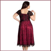 Vintage Glamor Lace Overlay Bow Knot Bodice Empire Waist Wine Midi Evening Gown image 3