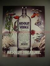 1987 Absolut Vodka Ad, Absolut Treasure - Tropical Fish - $14.99