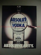 1987 Absolut Vodka Ad - Absolut Clarity - Magnifying!!! - $14.99