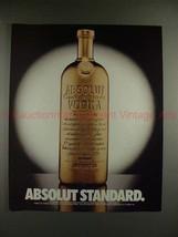 1989 Absolut Vodka Ad - Absolut Standard - Gold Bar!! - $14.99