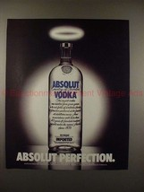 1990 Absolut Vodka Ad - Absolut Perfection - Angel Halo - $14.99