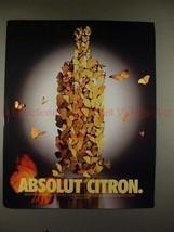 1998 Absolut Vodka Ad - Absolut Citron - Butterflies!! - $14.99