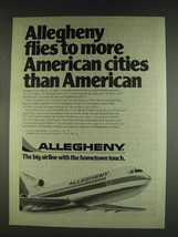 1978 Allegheny Airlines Ad - Flies to More Cities - $14.99